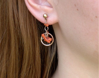 Art Deco Coral and Gold Antique Post Earrings