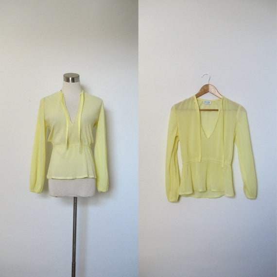 SALE-Vintage Sheer Blouse / 1970s Yellow Pleated Keyhole Top / Tie Neck (small S)