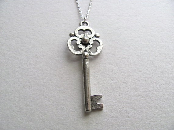 Antiqued silver skeleton key necklace on delicate silver chain