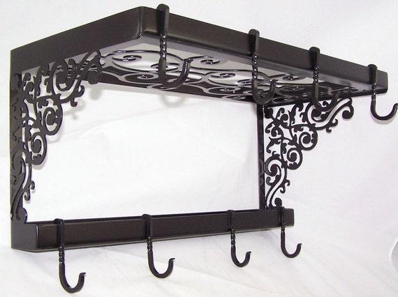 Victorian Iron Pot Pan Rack Spice Shelf Wall Mount Kitchen Storage Fancy Hooks