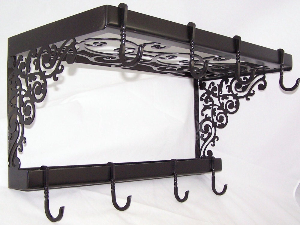 Victorian iron pot pan rack spice shelf wall mount kitchen for Kitchen s hooks for pots and pans