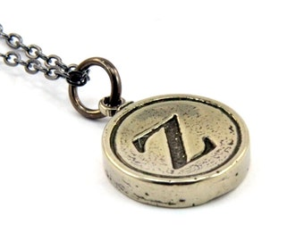 Letter Z Typewriter Key Pendant Necklace Charm - Other Letters Available