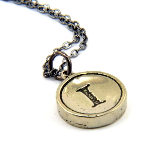 Letter I Charm Necklace - White Bronze Initial Typewriter Key Charm Necklace - Gwen Delicious Jewelry Design GDJ