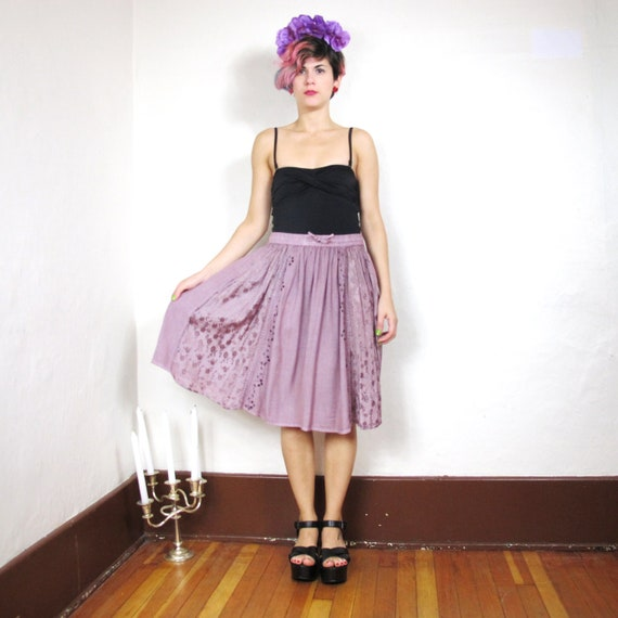 S A L E Purple Mountain Peasant Embroidered Full Skirt (S/M)