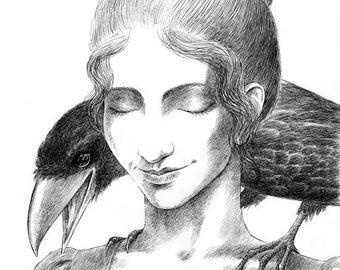 "Girl and Raven - 8x10"" Giclee Art Print"