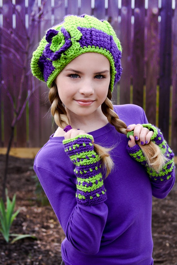 Items Similar To Tween Hats Lime Green And Purple Slouchy