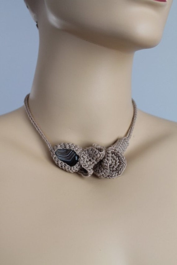 Beige Crochet Necklace  with  - Brown Agate Stone- Crochet Jewelry  - Summer Fashion
