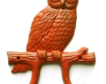 Sale- Cast Iron Owl Hook/Hanger in Orange/ Spring