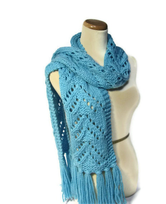 Bonnie Blue Scarf, Knit Scarf, Lacy Scarf, Winter Scarf, Hand Knit Scarf, Fiber Art, Womens Scarf, Gift For Her