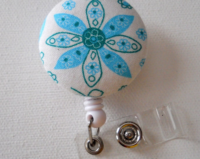 Light Blue Flower - Cute ID Badge Reel - Name Badge Holder - Retractable ID Badge Reel - Flower Badge Clip