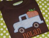 Boys Appliqued Shirt, Pumpkin Truck Shirt, or Bodysuit, Boys Halloween Shirt, Boys Thanksgiving Shirt, Brown Shirt,  Pumpkin Patch, Fall