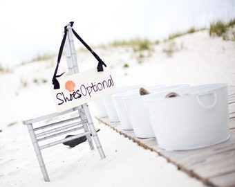 SHOES OPTIONAL for Beach Wedding or Reception. White Wedding Sign with a Sea Shell, Wooden Reception Dance Floor Sign, Photo Prop.