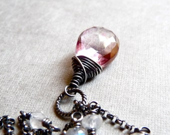 Pink Quartz Necklace, Rainbow Moonstone Necklace, Mystic Pink Quartz Briolette, Oxidized Sterling Silver Chain Necklace