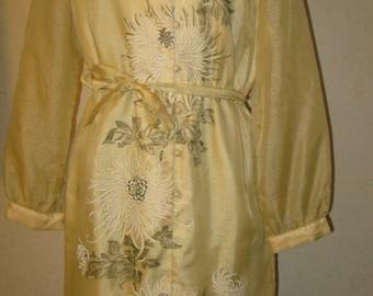 Vtg 60s Alfred SHAHEEN  Hawaiian Yellow Graphic Floral Screen Print Sheer Sleeve Wiggle Dress
