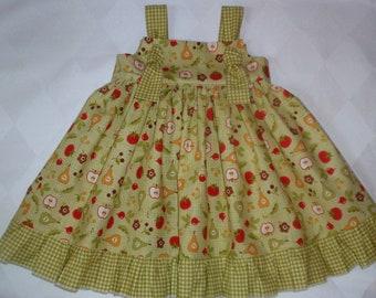 SALE 12-18 month - Toddler Fall Dress - Toddler Green Dress - Ruffles - Apples Veggies Dress - Toddler Fall Ruffles Dress - Handmade