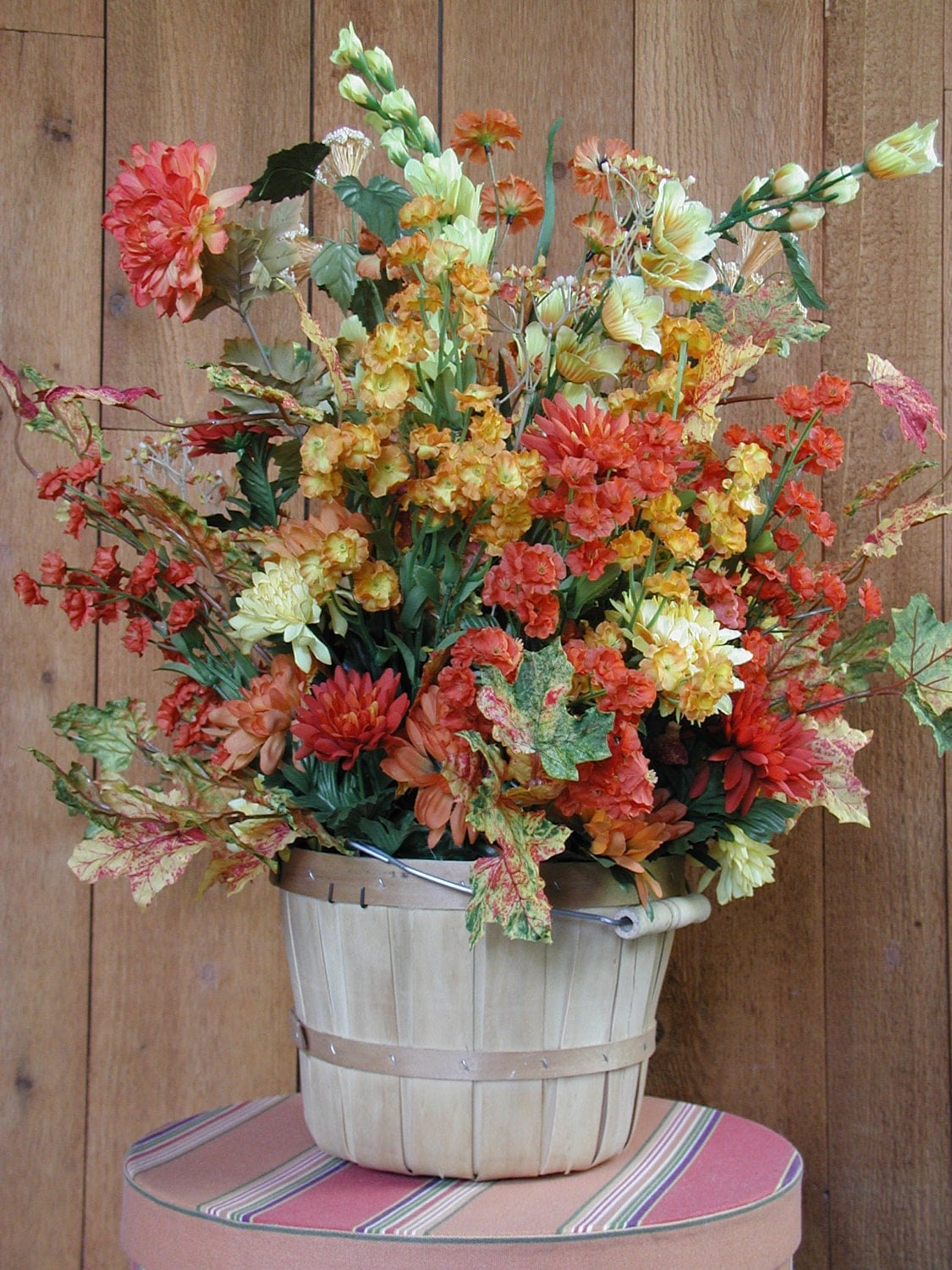 Fall Floral Arrangement in Wooden Basket by rrdesigns561 on Etsy