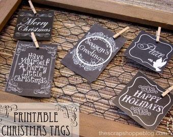 Christmas Chalkboard Gift Tags - Printable
