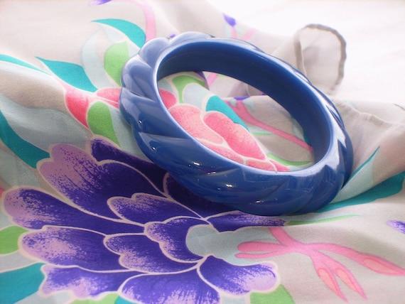 Cobalt Blue Bangle Bracelet, Chunky Rope Texture,Vintage 80s