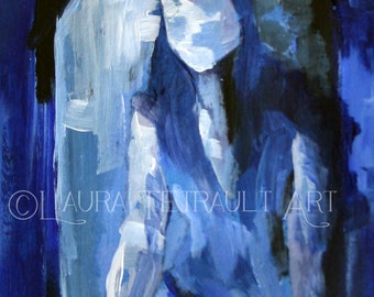Original Acrylic Figure Painting - Woman Looking Through a Window - 7x5 inches