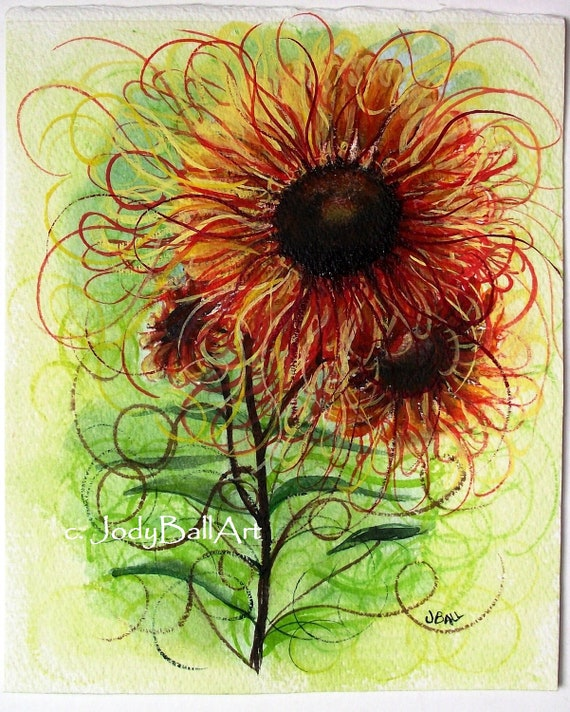 SUNFIRE WORKS Original Sunflower Garden Art Watercolor 8 x 10