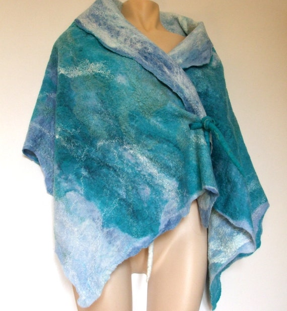 Felted Shawl wool and silk -shimmering blue summer
