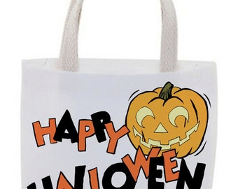 Halloween Goody Bags - Cotton Canvas Tote Bags - Mini Tote Bags - Favor Bags - Set of 4