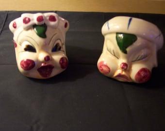 vintage midcentury head planters great pair