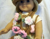 "Crochet Three-piece scarf, hat, and bag set for 18"" dolls similar to American Girl"