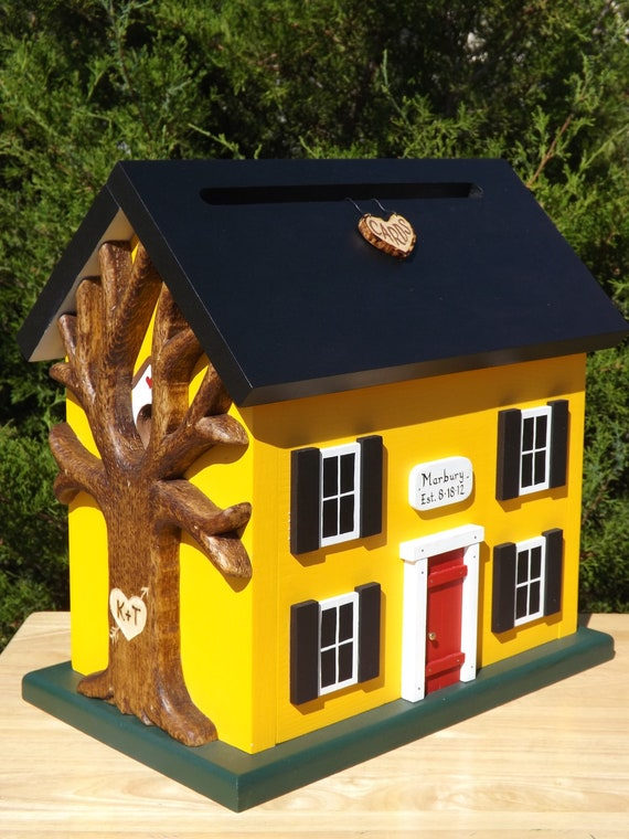 Wedding Card Box Birdhouse with Heart Carved Tree