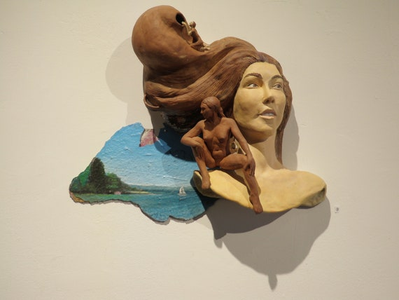 Ceramic Wall Sculpture Figure Group, Finding The Void, Narrative Art Portrait Nude, Look Within Original Painting