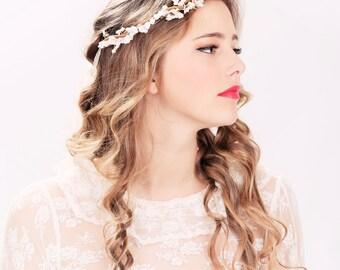 bridal headband, flower crown, headpiece, wedding headband bridal headpiece flower headpiece wedding headpiece