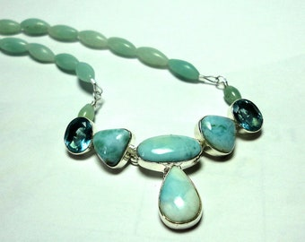 Larimar Necklace with Blue Topaz and Amazonite in Solid Sterling
