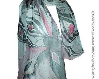Painted Silk scarf  pink black butterfly