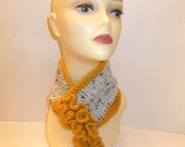 Gold and Multi-Flex, Crochet Neck Warmer/Cowl, Accessorie, Warm, Cozy, Gift, Girl, Teen