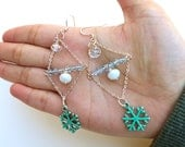 SALE 50% off Christmas Snow Flake Earrings