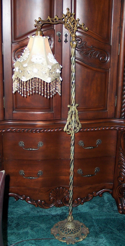 Antique Vintage Bridge Floor Lamp Pink Bead Fringe Taupe Shade