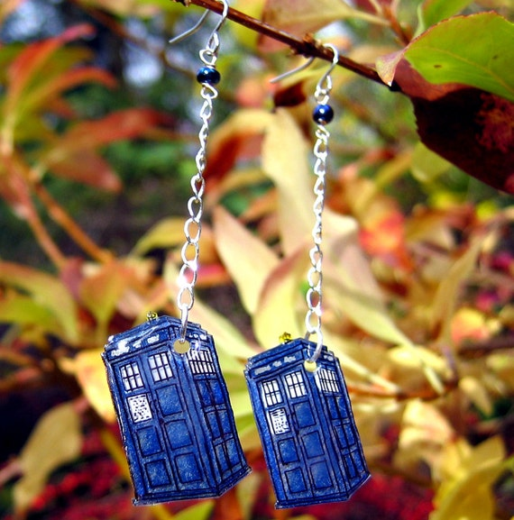 TARDIS Earrings - Doctor Who Jewelry - Dangle Style