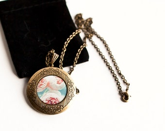 Victorian Inspired Art Locket for Women, Photo Art Locket, Pink and Blue, Roses, Fall Gift for Her