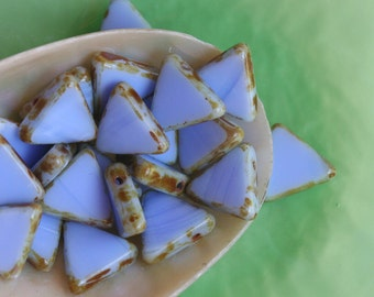 13mm Triangle Beads - Jewelry Making Supplies - Wholesale Czech Glass Beads - Periwinkle Blue (5 strands 120 beads)