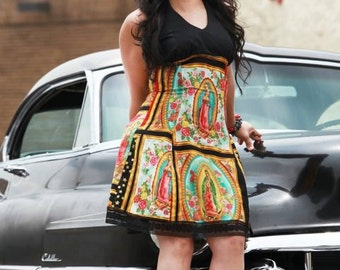 Custom Plus Size 3XL - 4XL Dress Your Measurements  / / Senoritas / Day of the Dead Rockabilly / Skulls and Roses / Guadalupe Panels