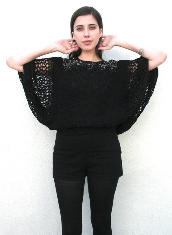 Vintage Batwing 1980's Black Cotton Crochet Wide Fishnet Knit Sweater S