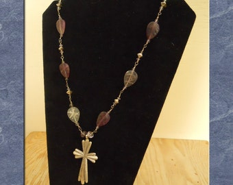 Pendant Necklace Sterling Silver Vintage Cross Amethyst Leaf Bead Wire Wrapped Strand Purple Statement  (M-101)