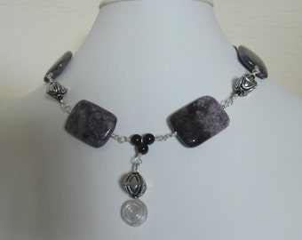 Chairoite Necklace Choker Sterling Silver Purple Black Gemstone Beads Statement Wire Wrapped Strand  (M-162)