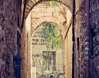 Jerusalem Alley with Bicycle - Jerusalem Stone - Israel Travel Photography - Made in Israel - 8x12 fine art photo