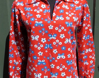 Vintage 1960s-1970s Mod Red Blouse w/Butterflies & Flowers All Cotton Long Sleeve