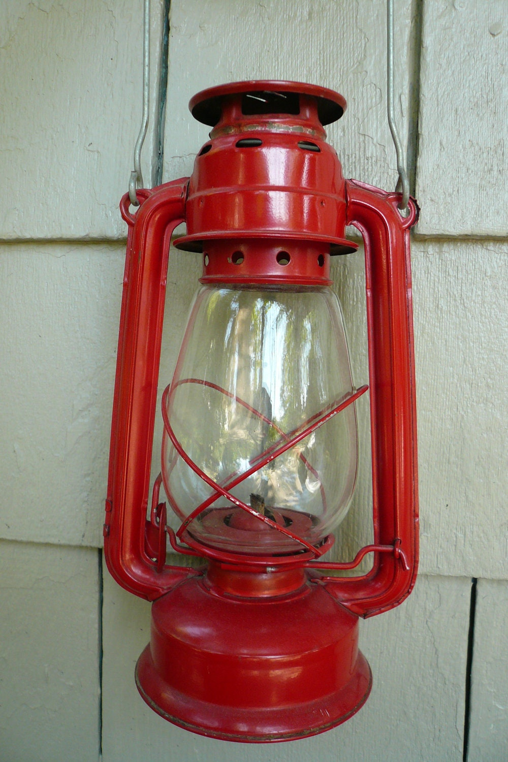 Vintage Large Red Hurricane Lantern // Antique Oil Lamp