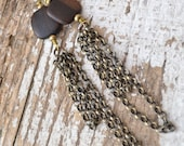 Tiger Ebony and Chain Dangle Earrings