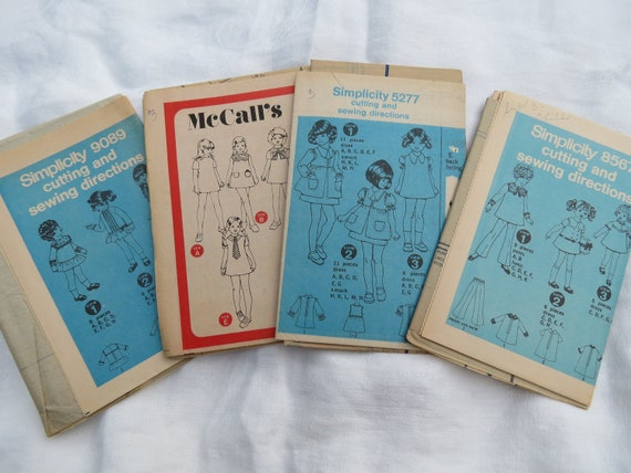 1970s Girls Mini Dress Patterns - Lot of 4 UNCUT Vintage Patterns in Size 3