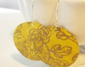 Mustard Yellow and Gold Floral Medium Origami Earrings