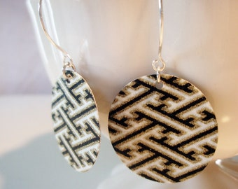 Geometric Tribal Origami, Black and Gold Small Earrings